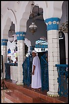 Muslim man in worship attire, Cholon Mosque. Cholon, District 5, Ho Chi Minh City, Vietnam (color)
