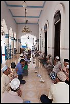 Men sitting in gallery, Cholon Mosque. Cholon, District 5, Ho Chi Minh City, Vietnam ( color)