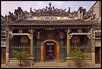 Facade, Thien Hau Pagoda, district 5. Cholon, District 5, Ho Chi Minh City, Vietnam ( color)