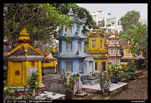 Cemetery, Giac Lam Pagoda, Tan Binh District. Ho Chi Minh City, Vietnam (color)