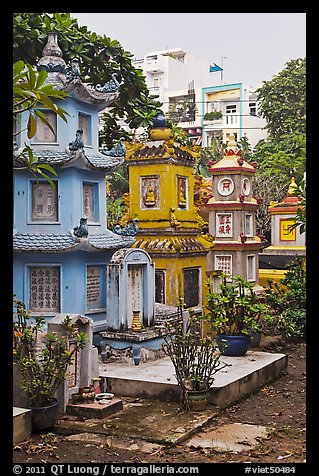 Tombs, Giac Lam Pagoda. Ho Chi Minh City, Vietnam (color)