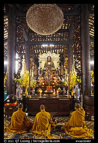 Monks in worship, Giac Lam Pagoda. Ho Chi Minh City, Vietnam (color)