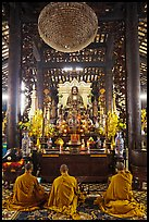 Monks in worship, Giac Lam Pagoda, Tan Binh District. Ho Chi Minh City, Vietnam (color)