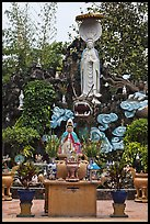 Statues and fountain, Giac Lam Pagoda. Ho Chi Minh City, Vietnam (color)