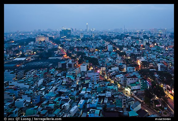 View of Cholon, from above at dusk. Cholon, Ho Chi Minh City, Vietnam (color)