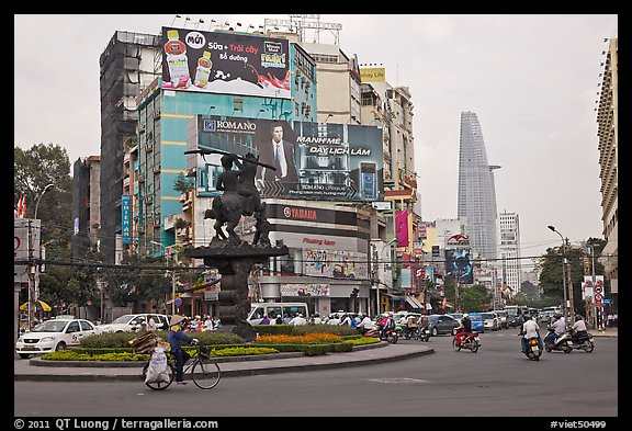 Traffic circle. Ho Chi Minh City, Vietnam (color)
