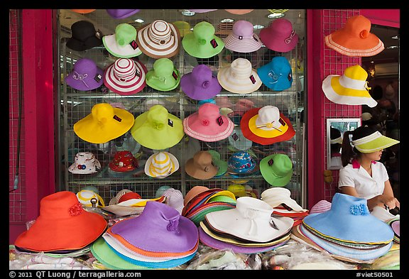 Store selling hats. Ho Chi Minh City, Vietnam (color)