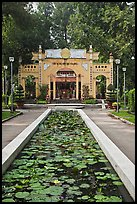 Lilly pond and temple gate, Cong Vien Van Hoa Park. Ho Chi Minh City, Vietnam (color)