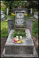 Tomb with fruit and refreshments offering. Ben Tre, Vietnam ( color)