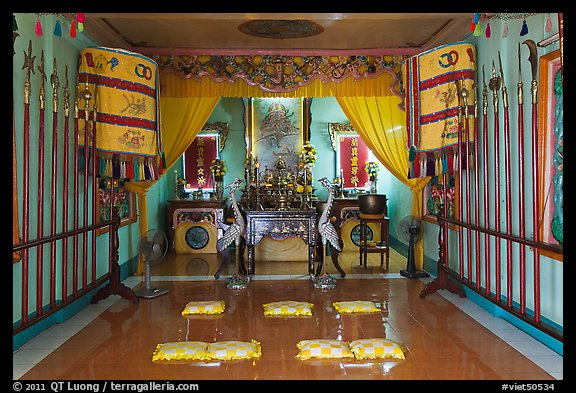 Prayer room, Saigon Caodai temple. Ho Chi Minh City, Vietnam