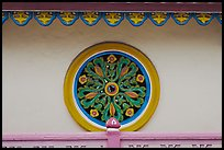 Circular window, Saigon Caodai temple, district 5. Ho Chi Minh City, Vietnam (color)