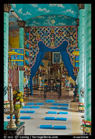 Main ceremonial room and altar Saigon Caodai temple, district 5. Ho Chi Minh City, Vietnam (color)