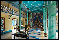 Main ceremonial room, Saigon Caodai temple, district 5. Ho Chi Minh City, Vietnam (color)