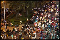 Crowded boulevard from above at night. Ho Chi Minh City, Vietnam (color)