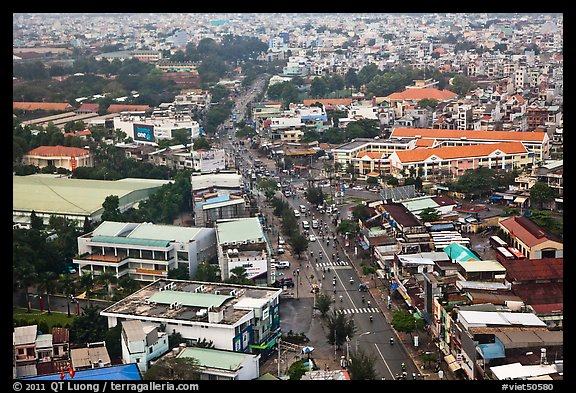 Aerial view of street and houses. Ho Chi Minh City, Vietnam (color)