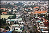 Aerial view of street and houses. Ho Chi Minh City, Vietnam ( color)