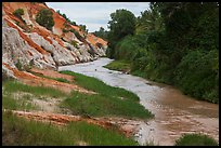 Fairy Spring passing through eroded sand and sandstone landscape. Mui Ne, Vietnam (color)