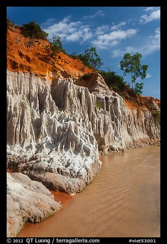 Colorful rock and sand formations above Fairy Stream. Mui Ne, Vietnam (color)