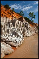 Colorful rock and sand formations above Fairy Spring stream. Mui Ne, Vietnam (color)