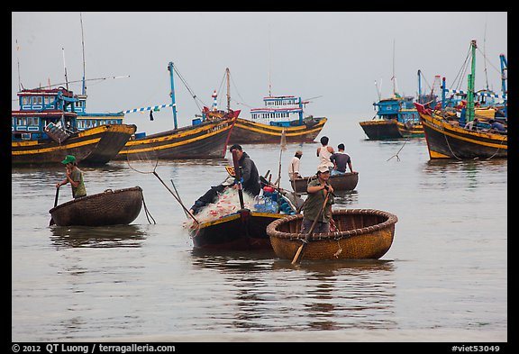 Men use round woven boats to disembark from fishing boats. Mui Ne, Vietnam (color)