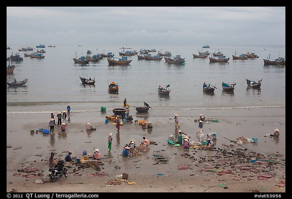 Fishing harbor from above. Mui Ne, Vietnam (color)