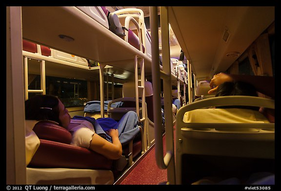 Inside sleeper bus. Vietnam (color)