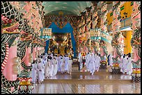 Cao Dai followers during a service inside Holy See. Tay Ninh, Vietnam ( color)