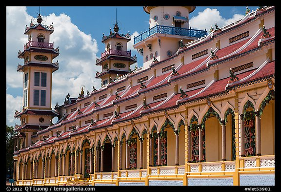 Sideways view of Great Temple of Cao Dai. Tay Ninh, Vietnam (color)