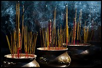 Urns with burning incense sticks, Thien Hau Pagoda. Cholon, District 5, Ho Chi Minh City, Vietnam (color)