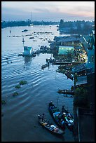 Boats and riverfront from above at dawn. Can Tho, Vietnam (color)