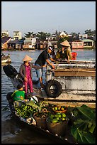 Transaction at Cai Rang floating market. Can Tho, Vietnam (color)