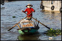 Woman paddling boat with breads, Cai Rang floating market. Can Tho, Vietnam ( color)