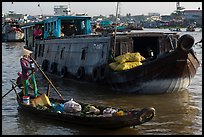 Canoe and barge, Cai Rang floating market. Can Tho, Vietnam (color)