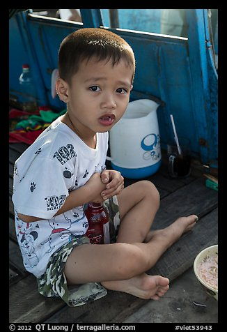 Boy on barge. Can Tho, Vietnam (color)