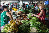 Buying and selling vegetable inside covered market, Cai Rang. Can Tho, Vietnam (color)