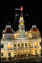 Peoples committee building (former City Hall) by night. Ho Chi Minh City, Vietnam (color)