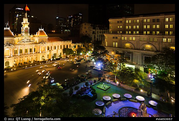 City Hall square at night from above. Ho Chi Minh City, Vietnam (color)
