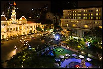 City Hall square at night from above. Ho Chi Minh City, Vietnam