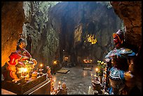 Guardian deities at the entrance of Huyen Khong cave. Da Nang, Vietnam (color)