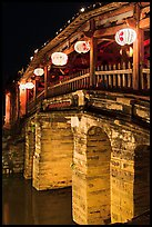 Japanese Bridge with paper lanterns. Hoi An, Vietnam (color)