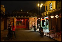 Night street scene near the Japanese Bridge. Hoi An, Vietnam (color)