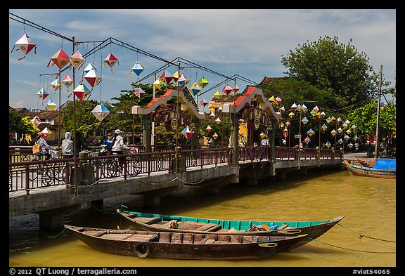 Cam Nam bridge with lanterns. Hoi An, Vietnam (color)