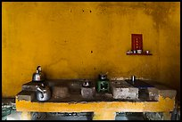 Yellow kitchen and altar. Hoi An, Vietnam (color)