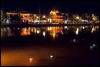 Thu Bon River with floatting candles. Hoi An, Vietnam ( color)