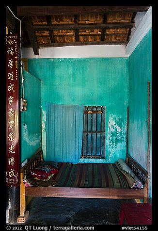 Wooden bed with straw mat, Cam Kim Village. Hoi An, Vietnam (color)