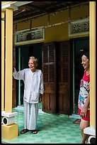 Woman and elder on porch of their house, Cam Kim Village. Hoi An, Vietnam ( color)