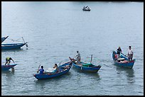 Fishermen on small boats. Vietnam ( color)