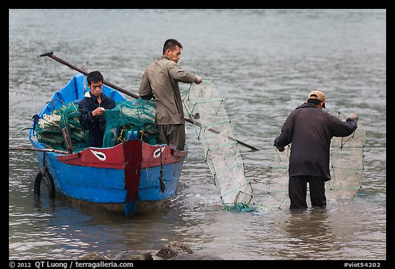 Men operating fish traps. Vietnam (color)