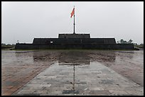 Flag monument in the rain. Hue, Vietnam (color)