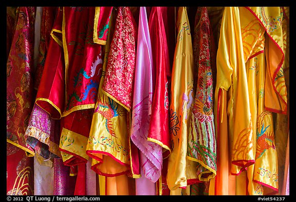 Silk robes, imperial citadel. Hue, Vietnam (color)